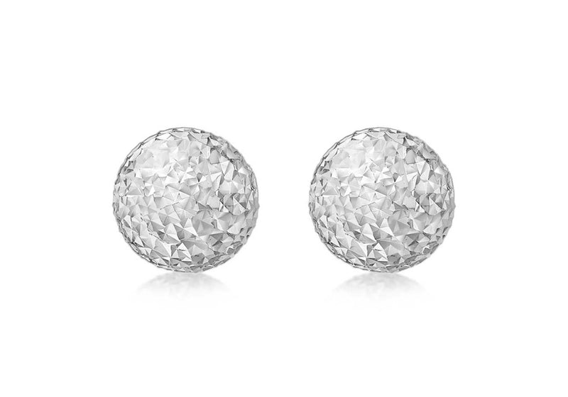 9ct White Gold 10mm Diamond Cut Ball Stud Earrings