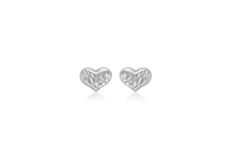 9ct White Gold Diamond Cut 7.7mm x 5.9mm Heart Stud Earrings