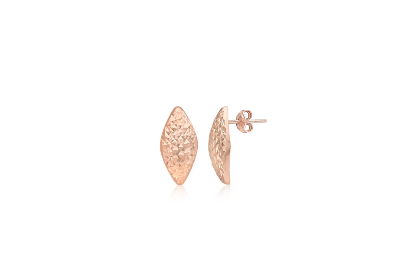 9ct Rose Gold 7.8mm x 15.5mm Diamond Cut Rhombus Stud Earrings
