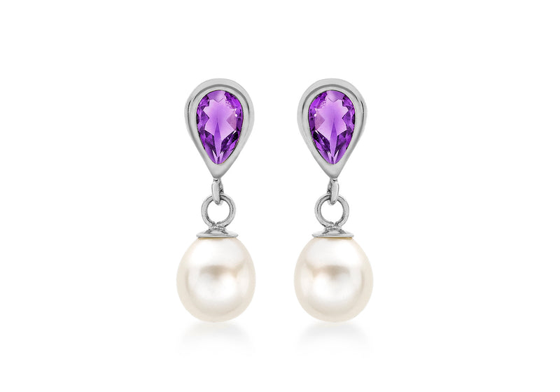 9ct White Gold Amethyst and Fresh Water Pearl Drop Earrings