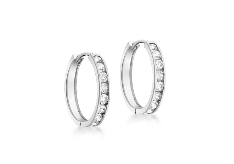 9ct White Gold Zirconia  17mm Huggy Earrings