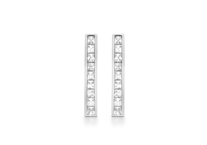 9ct White Gold Zirconia  Bar Drop Earrings