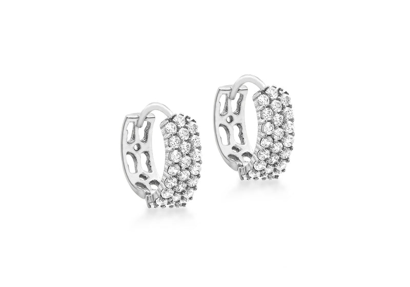 9ct White Gold Zirconia  3-Row Pave Set 12mm Huggy Earrings