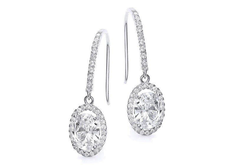 9ct White Gold Oval Zirconia  Drop Earrings