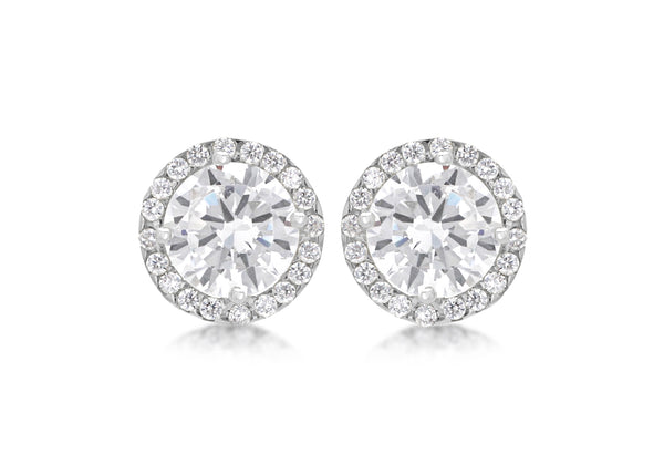 9ct White Gold Round Zirconia  9mm Stud Earrings