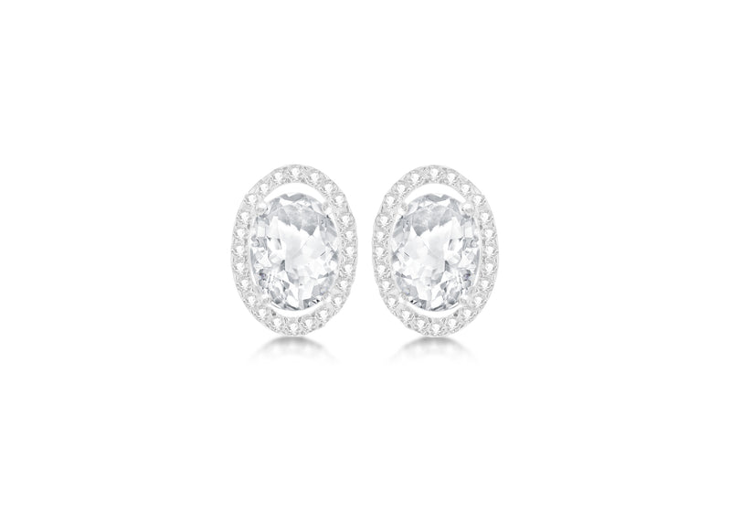 9ct White Gold Oval Zirconia  and Pave Set 9mm x 12mm Stud Earrings