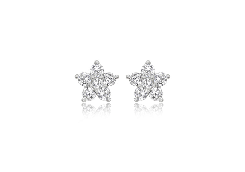 9ct White Gold Zirconia  Cluster Flower Stud Earrings
