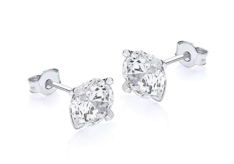 9ct White Gold Round Zirconia  8mm Stud Earrings