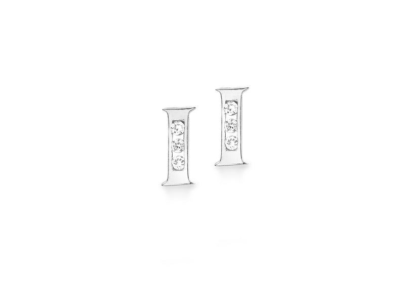 9ct White Gold Zirconia  3mm x 6mm 'I' Initial Stud Earrings