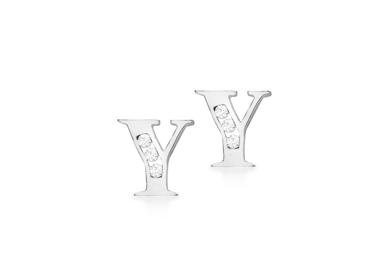 9ct White Gold Zirconia  6mm x 6mm 'Y' Initial Stud Earrings