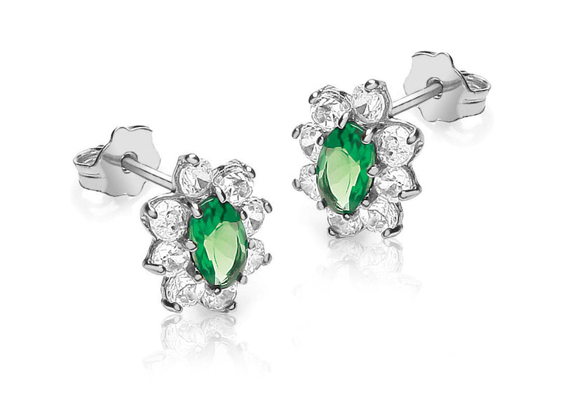 9ct White Gold White and Oval Green Zirconia  Flower Cluster 8mm x 10mm Stud Earrings