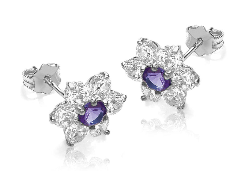 9ct White Gold Purple and White Zirconia  Flower Cluster Stud Earrings