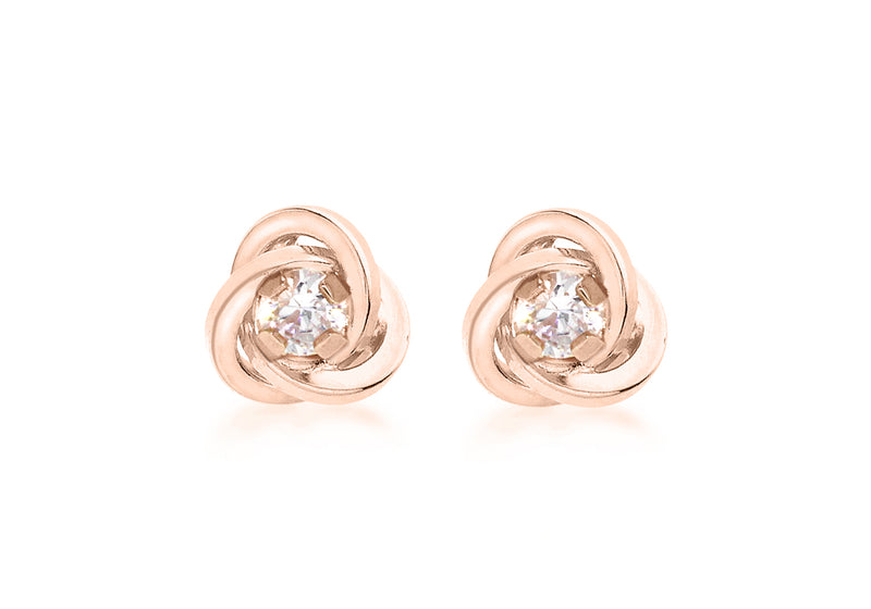 9ct Rose Gold Zirconia  7mm Knot Stud Earrings