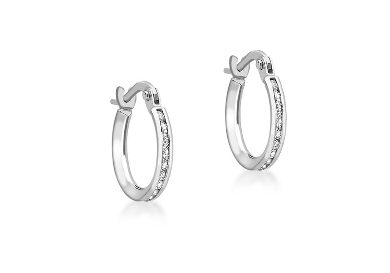 9ct White Gold Zirconia  Band 13mm Creole Earrings