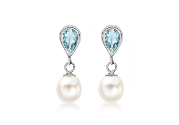 9ct White Gold Blue Topaz and Fresh Water Pearl Drop Earrings