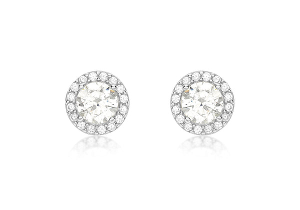 9ct White Gold Zirconia  7.7mm Stud Earrings