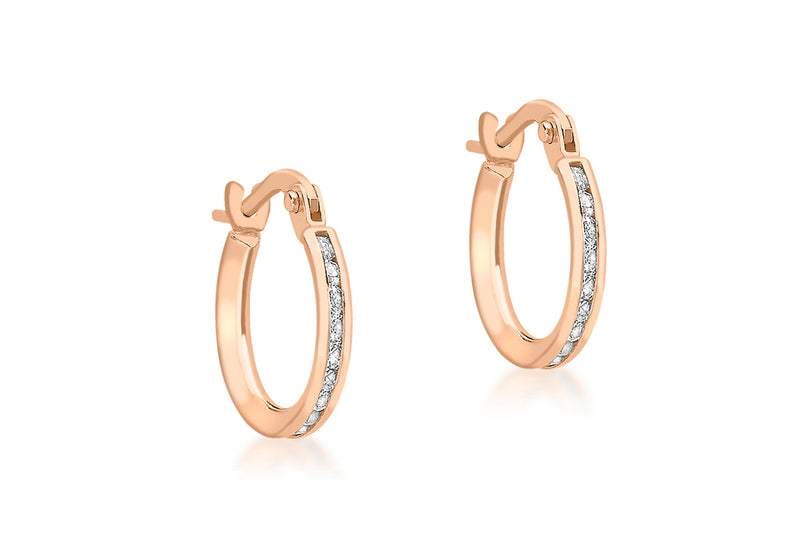 9ct Rose Gold 20mm White Stone Set Earrings