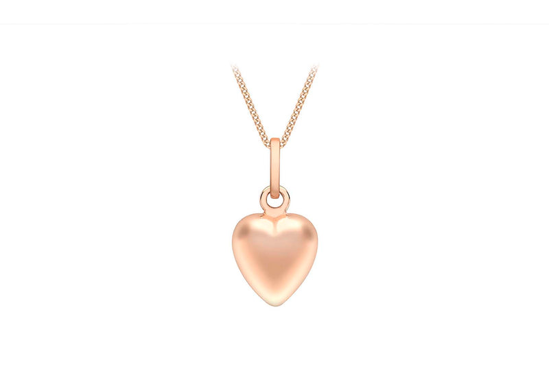 9ct Rose Gold 7.6mm x 14.3mm Puffed Hollow Heart Pendant