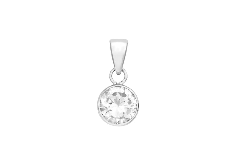 9ct White Gold 7mm Zirconia  Round Pendant
