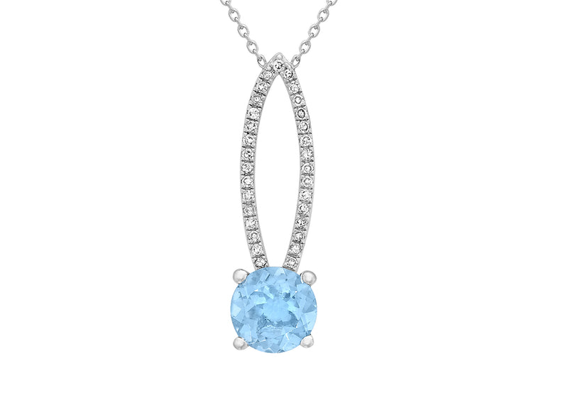 "9ct White Gold 0.10ct Diamond and Blue Topaz Elliptic Adjustable Necklet 41m/16""9"