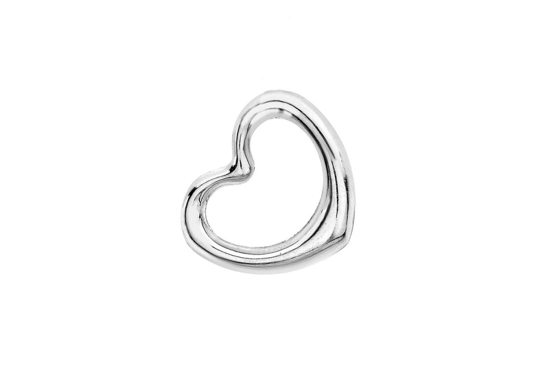 9ct White Gold 14mm x 12mm Heart Slider Pendant