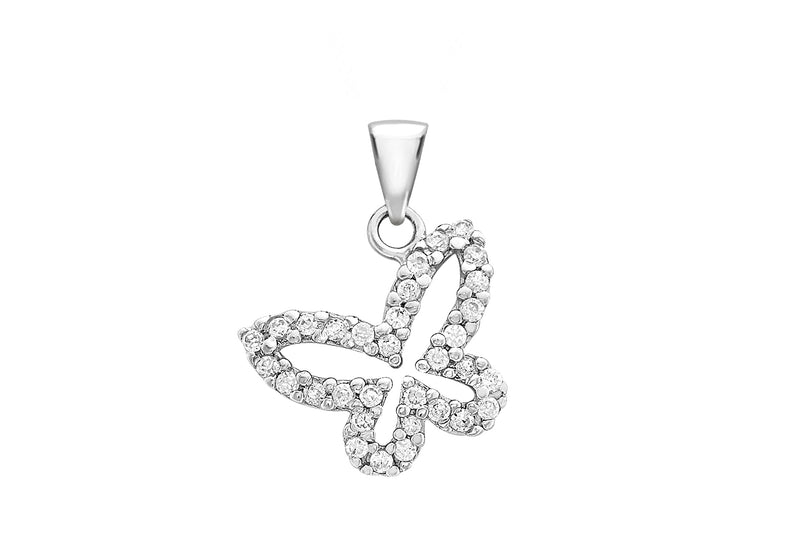 9ct White Gold Zirconia Butterfly Pendant