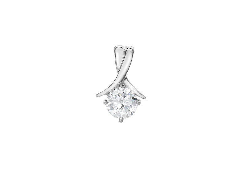 9ct White Gold 6mm Round Zirconia  Drop Pendant