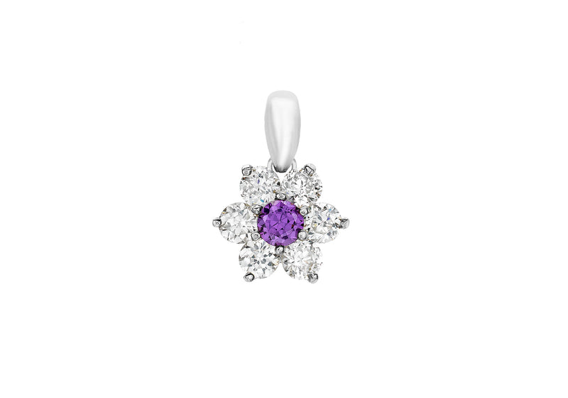 9ct White Gold Purple and White Zirconia  Flower Cluster Pendant