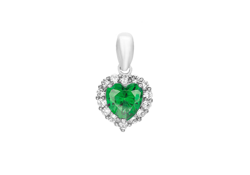 9ct White Gold Green and White Zirconia  Heart Pendant