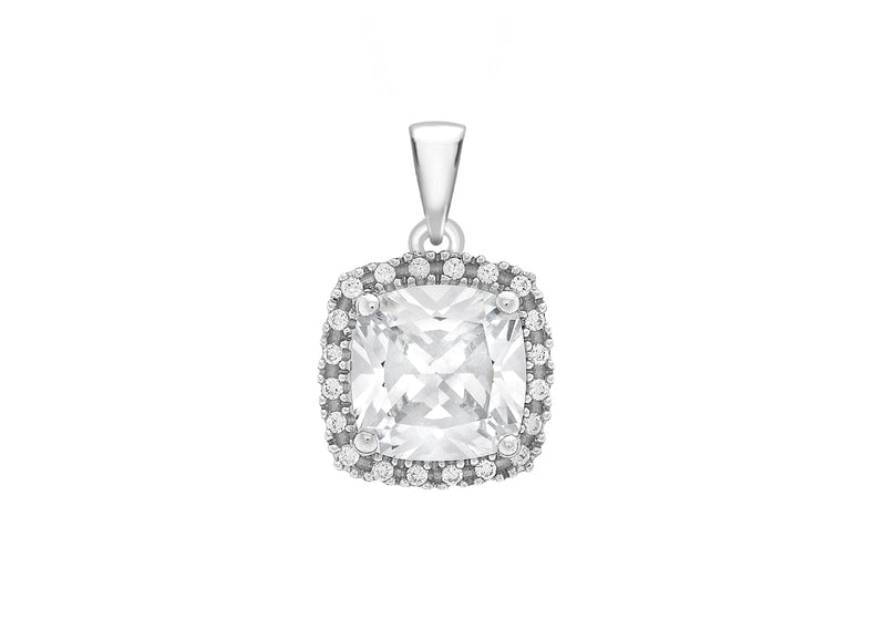 9ct White Gold Zirconia  10mm x 14mm Cluster Square Pendant