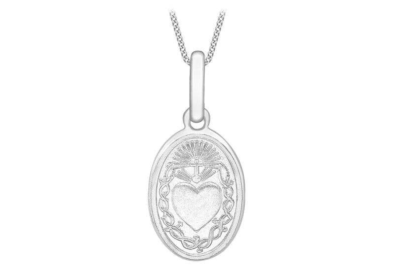 9ct White Gold Oval 'Sared Heart' Pendant