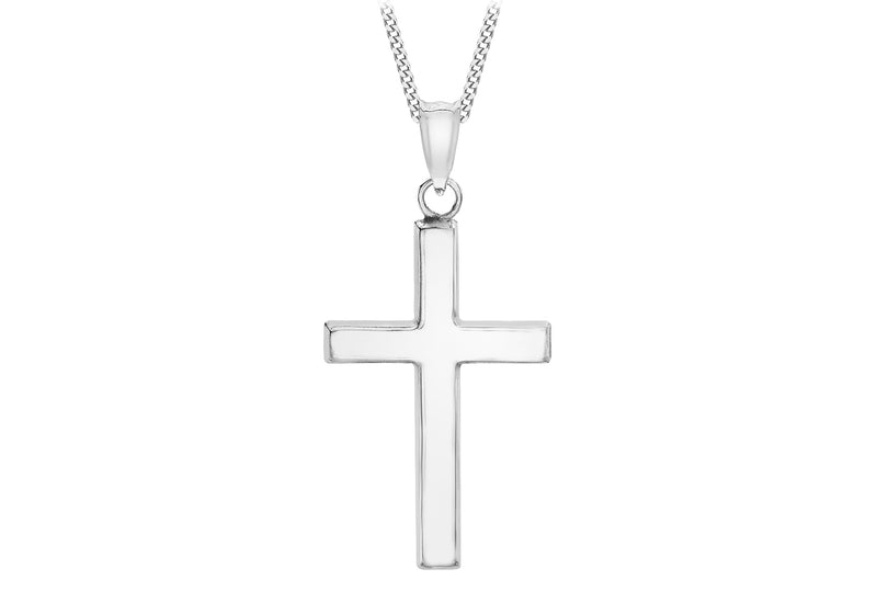 9ct White Gold 15mm x 25mm Cross Pendant