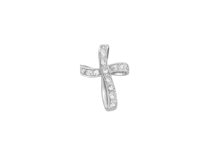 9ct White Gold Zirconia  Twist Cross Pendant