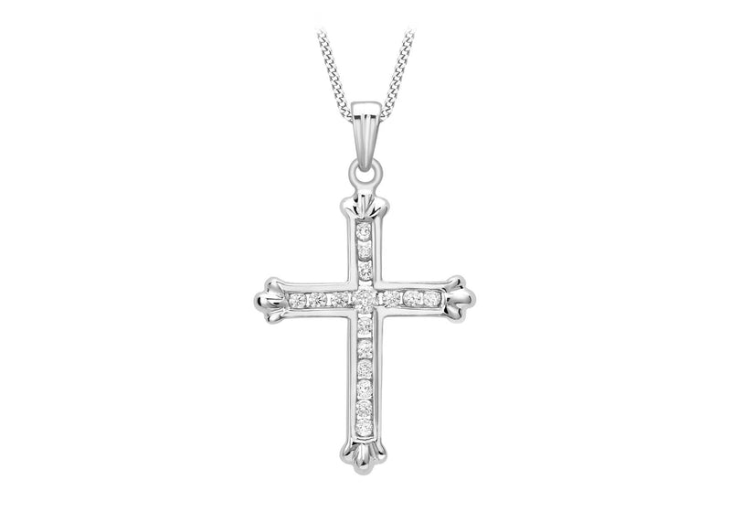 9ct White Gold Zirconia  Cross Pendant