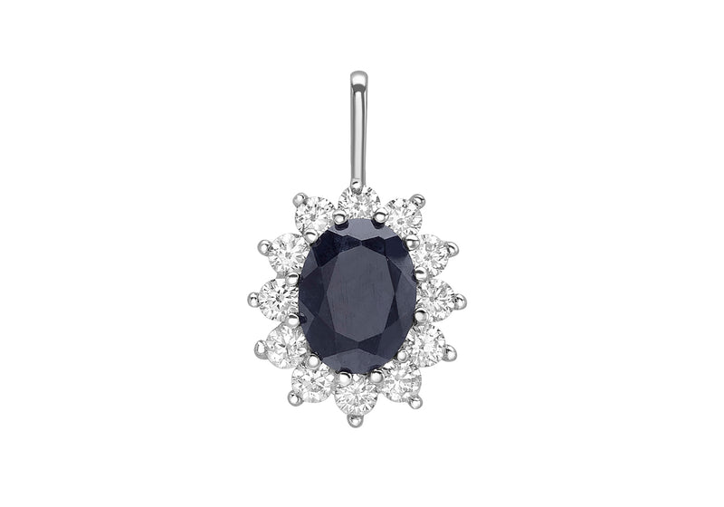 9ct White Gold Sapphire and Zirconia  11.7mm x 19mm Cluster Pendant