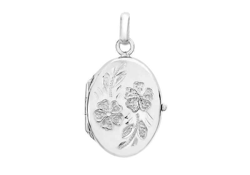 9ct White Gold 17mm x 24mm Daisy-Detail Oval Locket