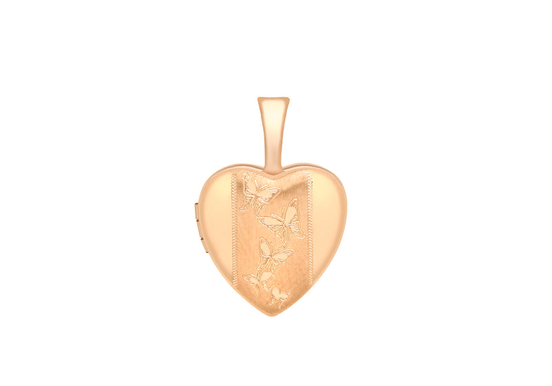 9ct Rose Gold 12mm x 18mm Etched -BCutterfly-Detail Heart Locket