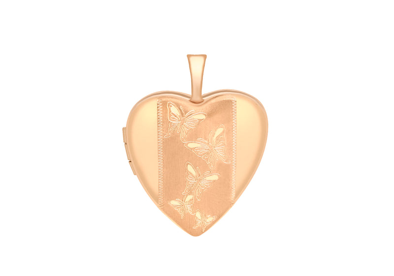 9ct Rose Gold 20mm x 25mm Etched  BCutterfly-Detail Heart Locket Pendant