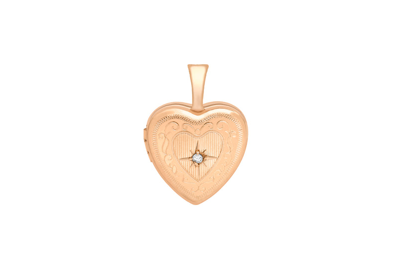 9ct Rose Gold Diamond Set 12mm x 18mm Etched -Heart Locket