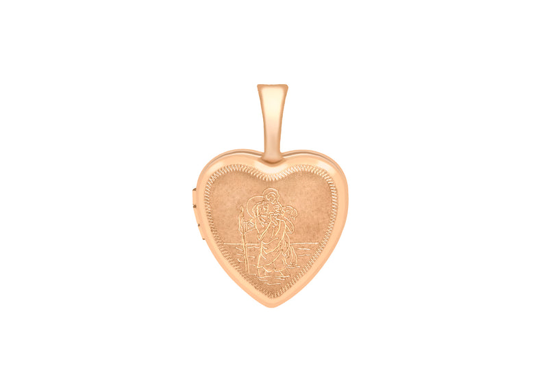 9ct Rose Gold Small Etched St Christopher Heart Locket
