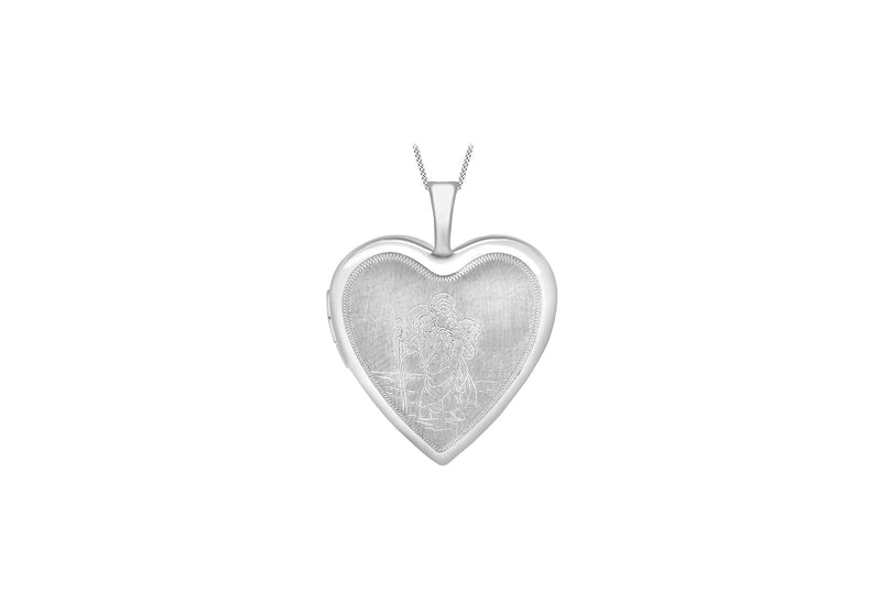 9ct White Gold Etched  St hristopher Heart Locket