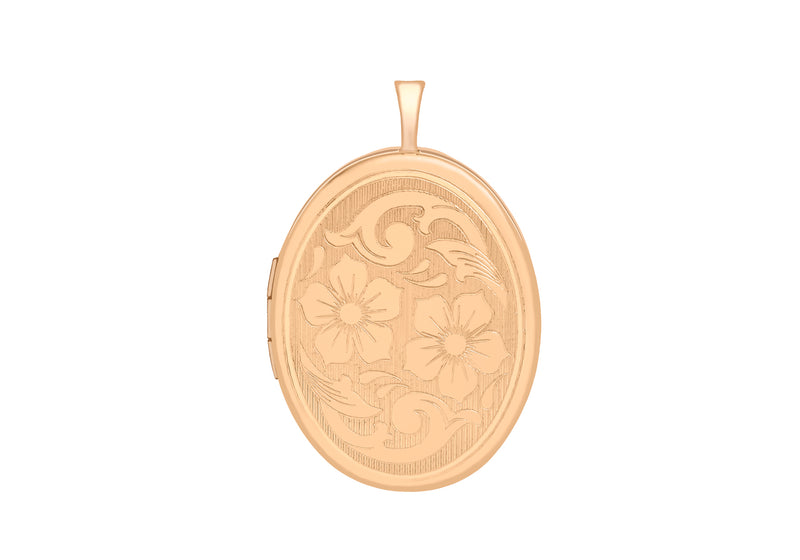 9ct Rose Gold 20mm x 32mm Etched -Flower-Detail Oval Locket