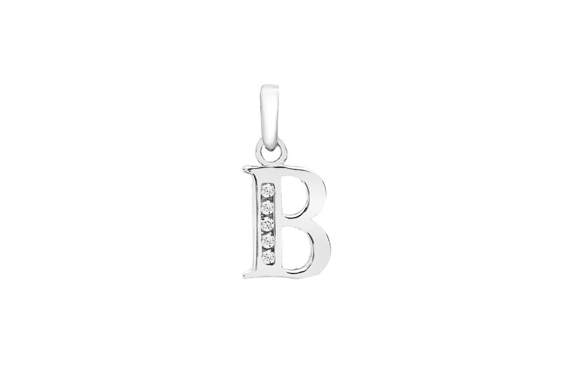 9ct White Gold Zirconia  7mm x 12mm 'B' Initial Pendant