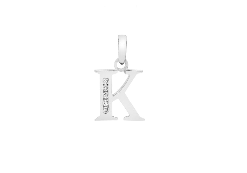 9ct White Gold Zirconia  10mm x 12mm 'K' Initial Pendant