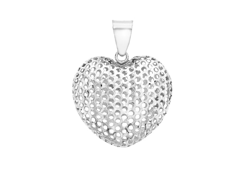 9ct White Gold Mesh Heart Pendant