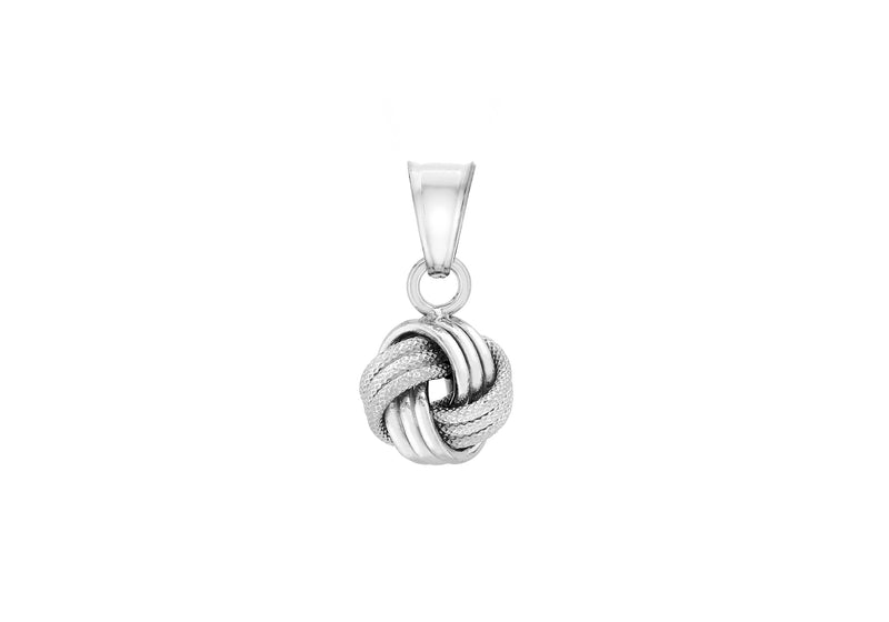 9ct White Gold Textured Knot Pendant
