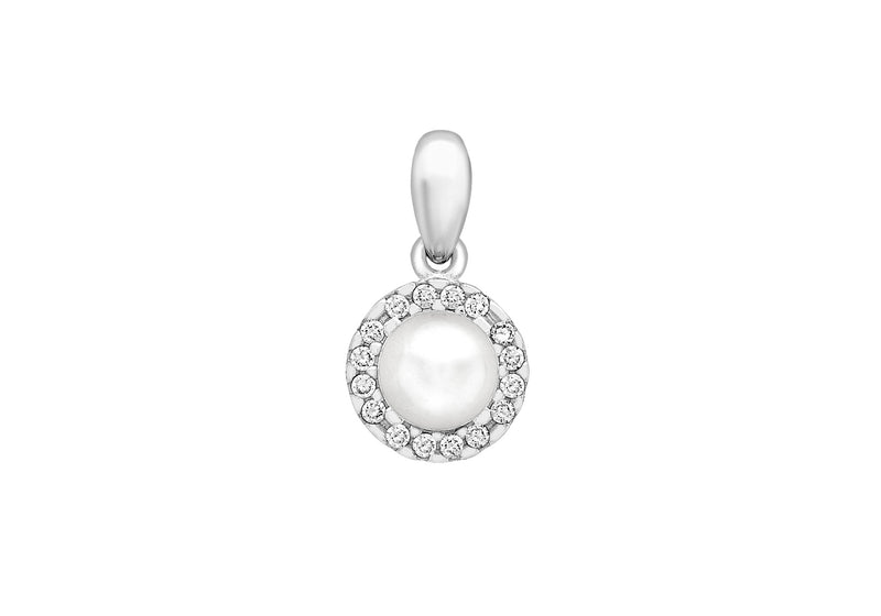 9ct White Gold Zirconia  and Pearl 8mm x 15mm Pendant