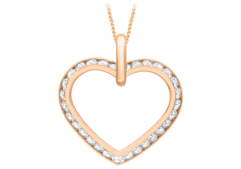9ct Rose Gold Zirconia  OCutline Heart Pendant