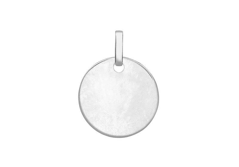 9ct White Gold 14mm Round Disc Pendant