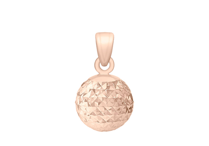 9ct Rose Gold 8mm Diamond Cut Ball Pendant